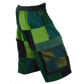Classic Corduroy Cargo Patchwork Shorts - Green