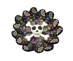 Fimo Round Cross Bones Incense Burner