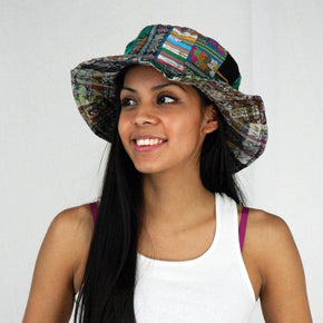 Floppy Patchwork Hat in Hand Made Fabric