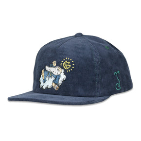 Good Livin Smoke God Blue Corduroy Zipperback Hat by Grassroots California