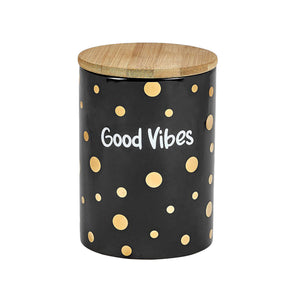 Good Vibes Gold Polka Dot Stash Jar