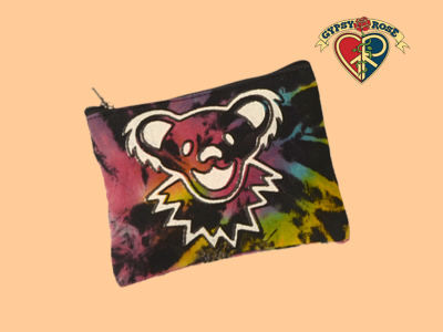 Grateful Dead Bear Face Tie Dye Cotton Coin Purse - Large