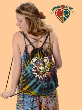 Grateful Dead Bear Face Tie Dye Cotton Drawstring Backpack