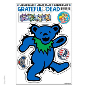 Grateful Dead Blue Dancing Bear Die Cut Multi Pack Sticker Set