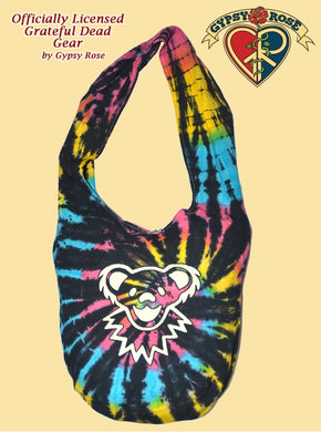 Grateful Dead Dancing Bear Face Tye Dye Cotton Peddler Bag