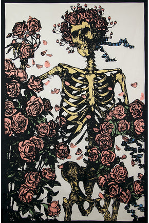 Grateful Dead Faded Bertha Skeleton and Roses Tapestry