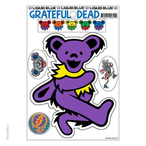 Grateful Dead Purple Dancing Bear Die Cut Multi Pack Sticker Set