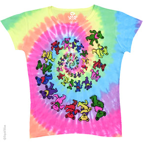 Grateful Dead Spiral Bears Ladies Tie Dye T-Shirt