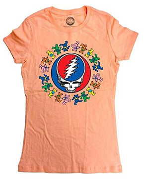 Grateful Dead Steal Your Face & Dancing Bears Peach Ladies T-Shirt