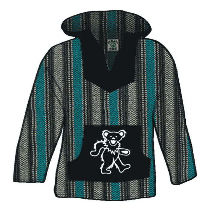 Grateful Dead Dancing Bear Multicolor Striped Baja Pullover