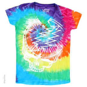 Grateful Dead Stealie V-Neck Tie Dye Ladies T-Shirt