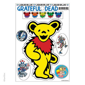 Grateful Dead Yellow Dancing Bear Die Cut Multi Pack Sticker Set
