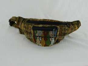 Hand Woven Fanny pack with Three Pockets & Brocade Accents