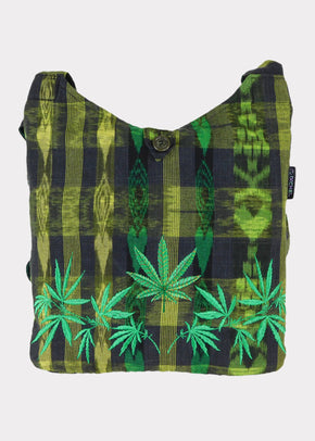 Hand Woven Shoulder Bag with Ganja Leaf Embroidery