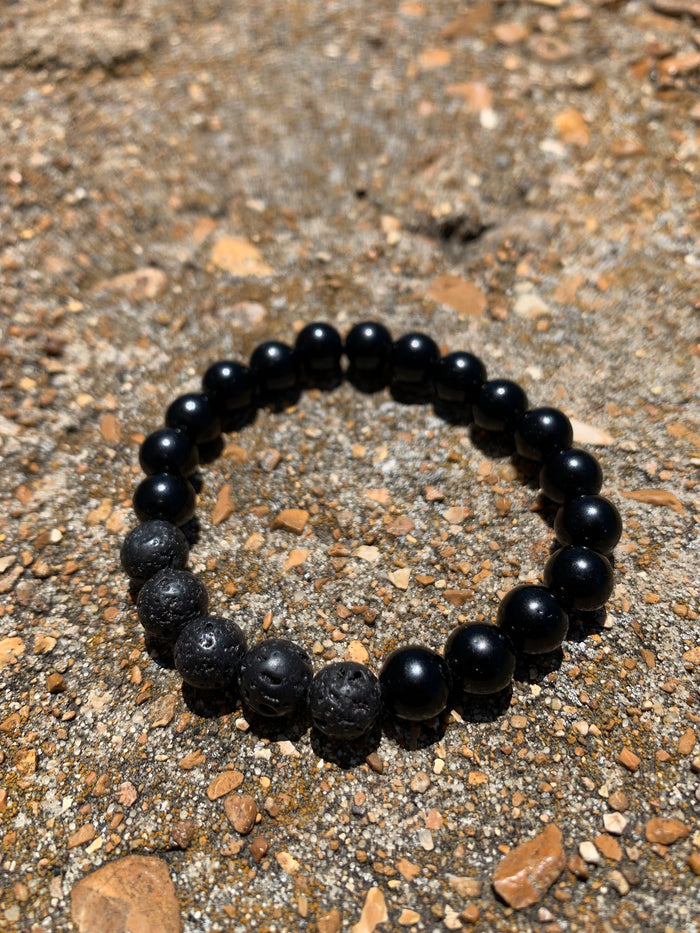 Lava Rock Black Obsidian 8mm Bracelet