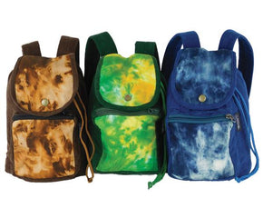 Mini Backpack in Tie Dyed Denim and Corduroy