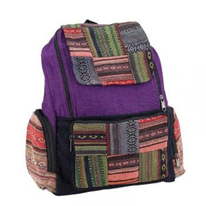 Multicolor Striped Patchwork Cotton Backpack