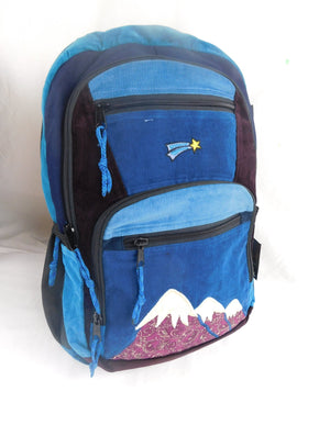 Patchwork Corduroy Backpack with Mountain Embroidered Applique