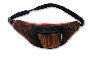 Patchwork Corduroy Fanny Pack with Three Pockets