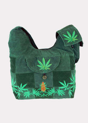 Patchwork Corduroy Saddle Bag with Ganja Leaf Emmbroidery