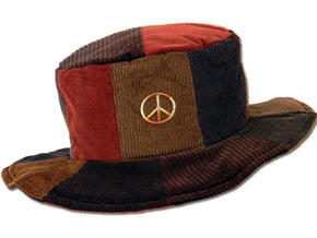 Patchwork Floppy Hat with Peace Sign Embroidery