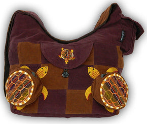 Patchwork Terrapin Shoulder Bag with 3D Pockets