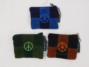 Patchwork Zipper Coin Purse with Peace Sign - Small