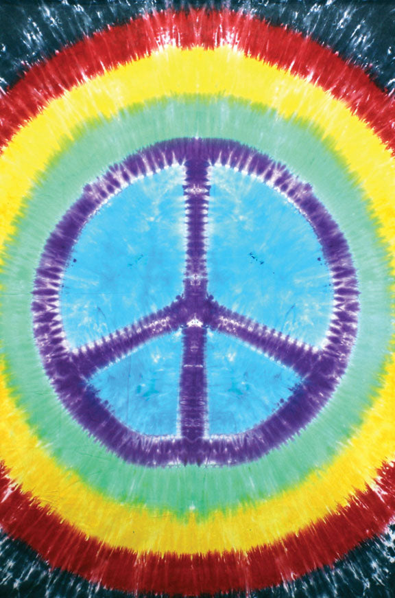 Rainbow Peace Sign Tie-Dyed Tapestry