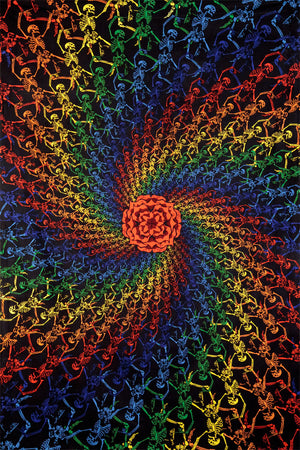 Rainbow Skeletons Spiral Tapestry