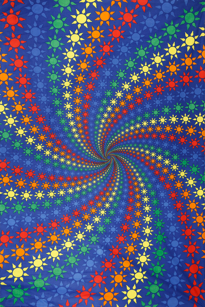 Spiral Rainbow Suns Tapestry