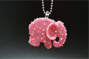 Sweet Shop Glass Elephant Animal Cracker Pendant