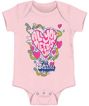 The Beatles All You Need is Love Pink Baby Onesie