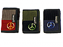 Three Fold Patchwork Corduroy Wallet with Peace Sign Embroidery