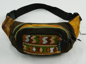 Three Pocket Fanny Pack in Tie Dye with Hand Brocade