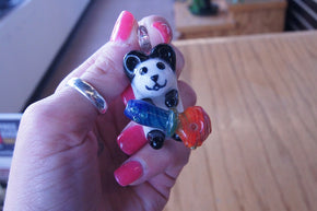 White Chocolate Glass Panda with Pipe Pendant