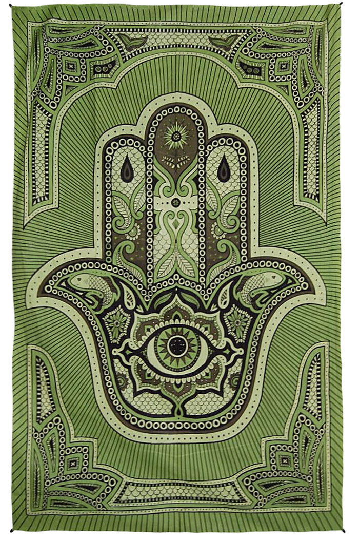 "Zest For Life Hamsa Hand Tapestry 52x80"" Green"