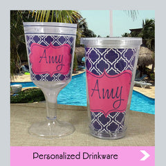 personalized wine glasses and acrylic tumblers