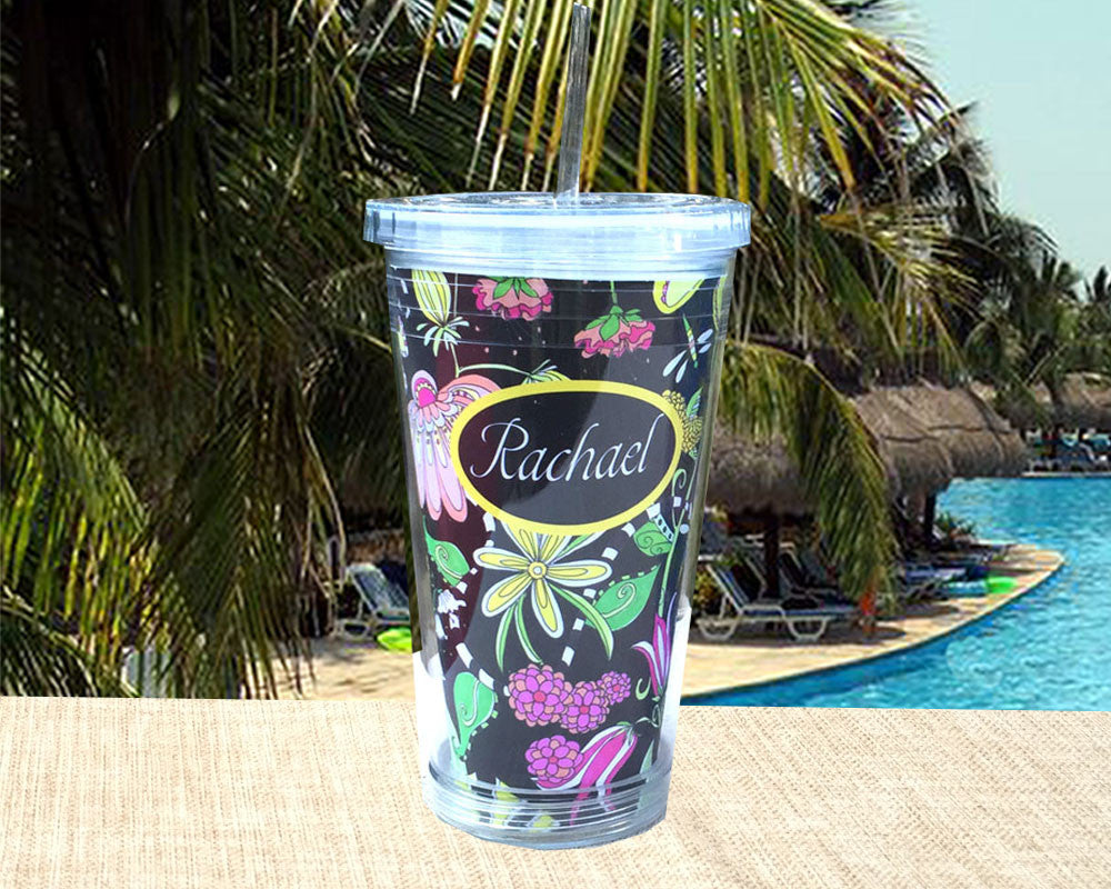 Custom Acrylic Tumbler Personalized with Name on Exclusive Flower Design