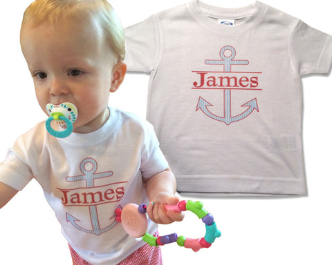 Personalized Boys Shirt Anchor and Name