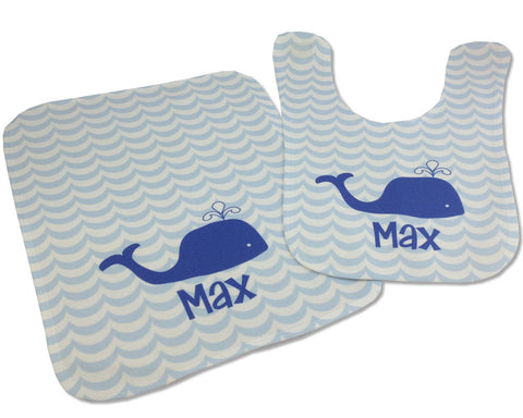 Personalized Baby Shower Gift Bib and Burp Cloth Set with Navy Whale