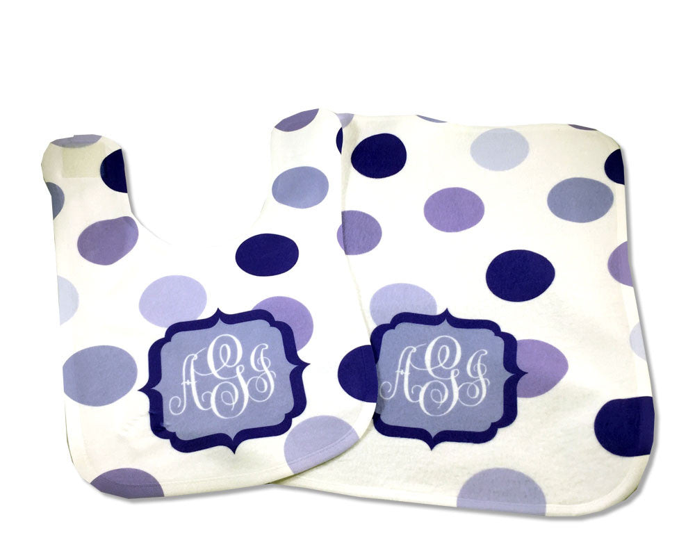 Polka Dot Baby Girl Bib and Burp Cloth Set Purple Dots