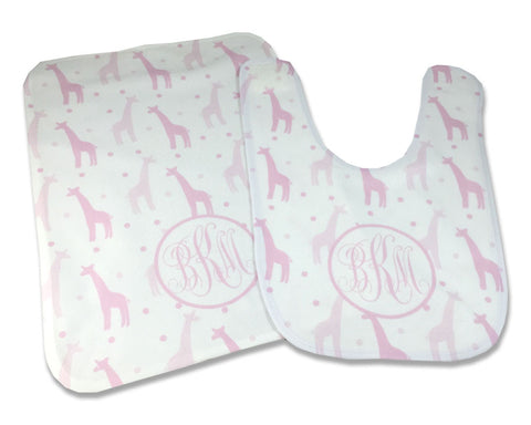 Baby Girl Monogrammed Bib and Burp Cloth Set Pink Giraffes Personalized with Monogram