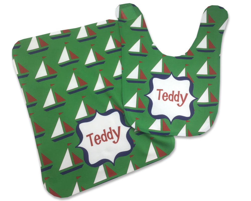 Personalized Baby Bib and Burp Cloth Set for Baby Boy Sailboat Bib Baby Shower Gift