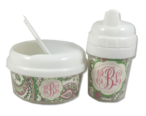 Monogrammed Baby Girl Sippy Cup and Snack Bin Set