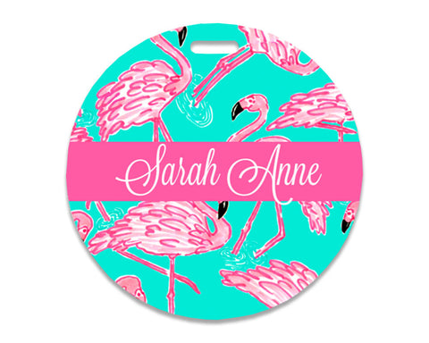 personalized bag tag flamingos