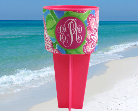 Beach Spiker Drink Holder Pink Flowers with Monogram