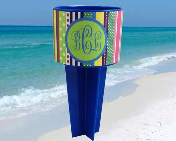 Monogram Beach Spiker Drink Holder Bright Ribbon Stripes