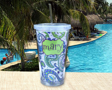 Personalized Acrylic Tumbler Blue and Green Paisley with Name