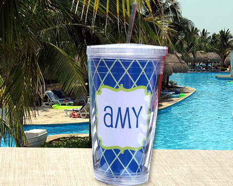 Tumbler Personalized Acrylic Cup with Lid and Straw, custom with name, great for the pool, beach or patio.
