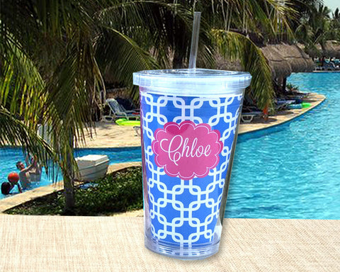 Personalized Tumbler with Name, custom acrylic cup with lid and straw, personalized with nameCopy of Pink and Hot Pink Pattern Acrylic Tumbler Teacher Gift Personalized with Name